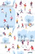 Tiny people dressed in winter clothes or outerwear performing outdoor activities at city park - walking, ice skating, skiing, building snowman. Colorful vector illustration in flat cartoon style.