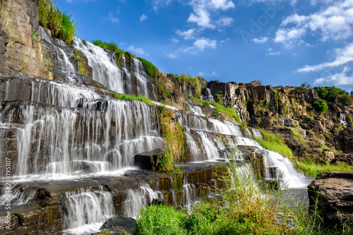 The Pongour waterfall in Lam Dong province, Vietnam. - 238195107