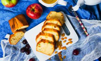 Fruit bread with raisins, grape and apple slices