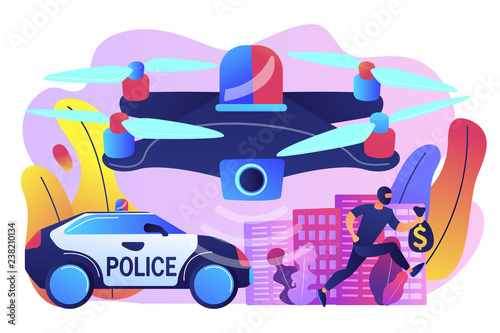 Police car and drone tracking thieve in mask with money and crime scene. Law enforcement drones, police drone use, smart city IoT tools concept. Bright vibrant violet vector isolated illustration - 238210134