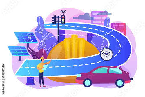 Building engineer and smart road using sensors and solar energy. Smart roads construction, smart highway technology, IoT city technology concept. Bright vibrant violet vector isolated illustration - 238210370