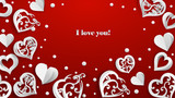 Background with paper volume hearts, confetti and inscription I love you, white on red