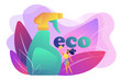 Green cleaning company employee tidies up with nature friendly spray. Green cleaning, eco cleaning company, environmentally friendly service concept. Bright vibrant violet vector isolated illustration