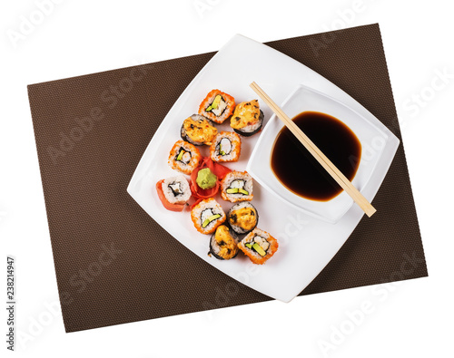 Japanese sushi in a plate isolated on white background, top view
