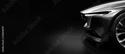 Leinwanddruck Bild Detail on one of the LED headlights modern car on black background