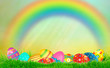 eggs are colored in the colors of the rainbow at spring background