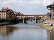 Quadro Ponte Vecchio, puente medieval sobre el río Arno en Florencia, Italia.