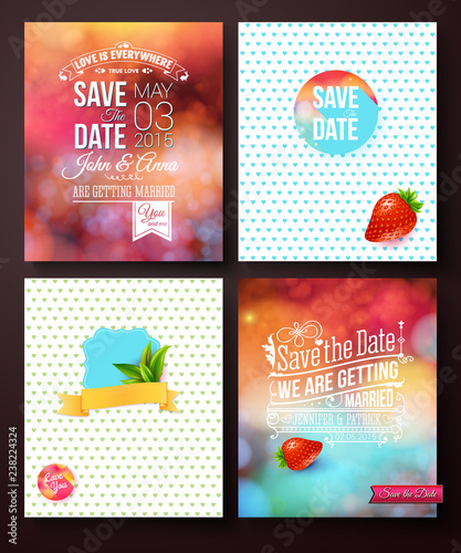 Wedding card templates on abstract backgrounds - 238224324