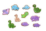 Homemade gingerbread cookies with the handmade icing decoration as funny dinosaurs. Isolated on white. Gift for kids.