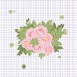 Floral Peony retro vintage background, illustration - 238230768
