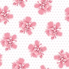 Pink camelia flowers seamless pattern. Tree petals bloom blossom. Female feminine girlish style. Polka dot background.