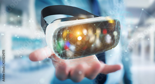 Leinwanddruck Bild Businessman using virtual reality glasses technology 3D rendering