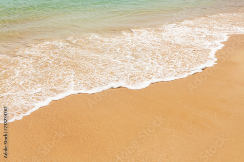 Tropical beach with sea and bright sand - 238234767