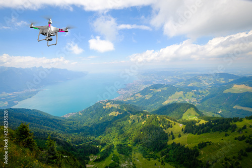 Leinwandbild Motiv Drone flying above Aerial landscape of Geneva lake at summer time
