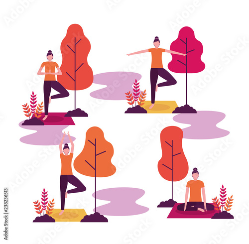 Fototapeta people yoga activitie