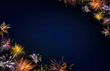 New Year background. Colored firework background .