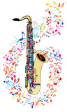 Saxophone and musical notes - 238243380