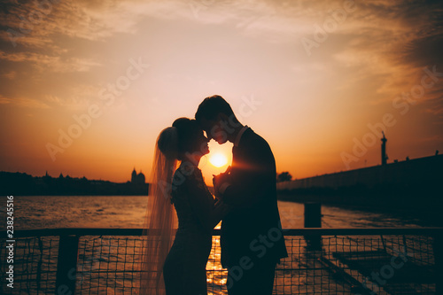 Silhouette of the bride and groom at sunset