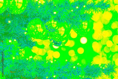 Leinwandbild Motiv Bokeh-abstraction: New Year mood in pop art style filled with green and yellow colors