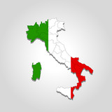Map of Italy painted in the color of the flag