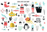 Big kids sea life clipart collection. A large set of items on the marine theme cut out of paper. Vector illustration