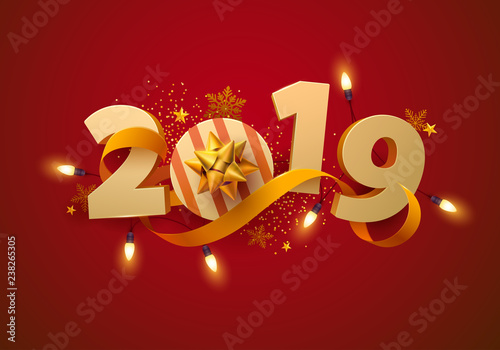 New Year greeting card 2019. 3D numbers with gift, garland and gold ribbon. © theromb