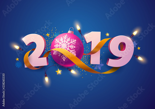 New Year greeting card 2019. 3D numbers with  gift, garland and ball