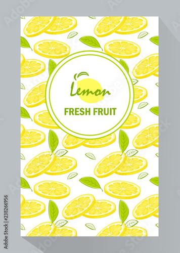 creative business brochure template with lemons, vector illustration - 238266956