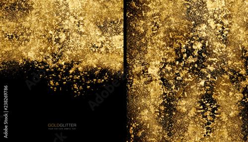 Koncepcja tło złote płatki. Rozproszony złoty proszek brokatu na kolor czarny