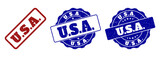 U.S.A. scratched stamp seals in red and blue colors. Vector U.S.A. marks with draft surface. Graphic elements are rounded rectangles, rosettes, circles and text titles.