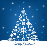 Blue and white christmas tree vector design.