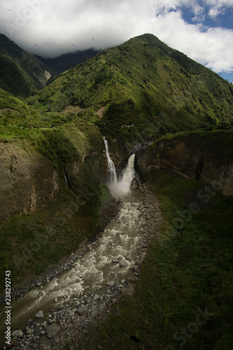 aerial view of waterfall in forest - 238292743