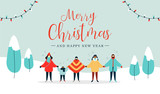 Merry Christmas card of diverse people singing