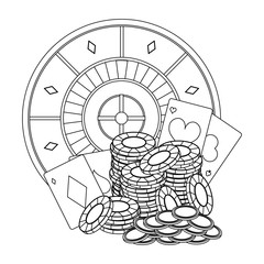 Poker games and elements in black and white
