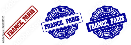 FRANCE, PARIS scratched stamp seals in red and blue colors. Vector FRANCE, PARIS signs with dirty surface. Graphic elements are rounded rectangles, rosettes, circles and text titles. - 238301142