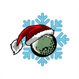 Golf  Santa Snow Flake Logo