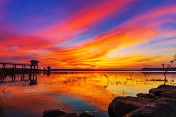 sunset at Lum Chae dam, Khonburi, Nakhon Ratchasima, Thailand © geargodz