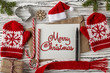 MERRY CHRISTMAS handwritten inscription. Winter holiday concept. - 238306588
