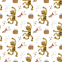 Seamless pattern with dancing monkey