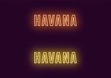 Neon name of Havana city in Cuba. Vector text