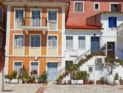 Old colorful buildings street Parga Greece