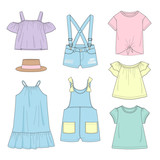 Set of girl's clothing. Summer. Vector illustration. - 238319730