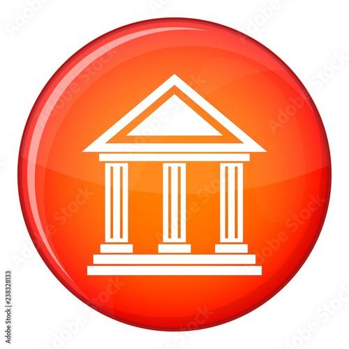Kolumnada ikona w czerwonym okręgu odizolowywającym na białej tło wektoru ilustraci