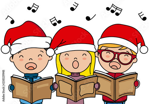 Children singing Christmas songs with santa hat - 238329948