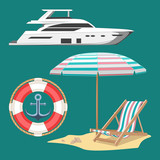 Set of vector images. Yacht, lifebuoy, chaise longue, shells, anchor.