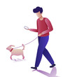 Modern young man flat icons. Young man walking a dog and communicating via smartphone. Vector illustration on a transparent background.