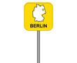 Gelbes Berlin Straßenschild oder Ortsschild mit Karte