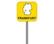 Gelbes Frankfurt Straßenschild oder Ortsschild mit Karte