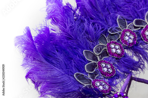 Embroidered helmet with stones and feathers for carnival - 238344909