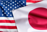 Flags of United states of america and japan flag together